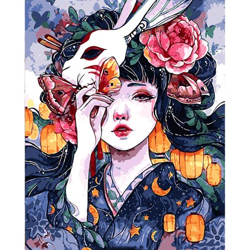 Anime Geisha számfestő készlet