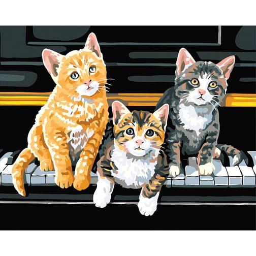 Cats on the piano számfestő készlet