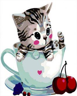 Cat in Cup számfestő készlet
