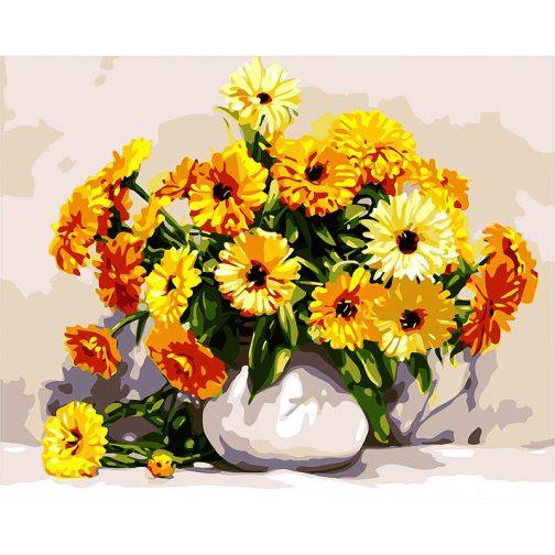 Sárga virágok számfestő készlet