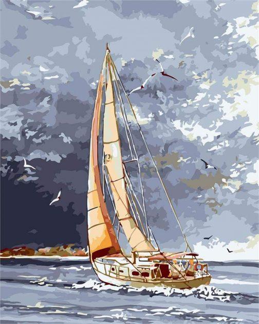 Akvarell csónakok számfestő készlet