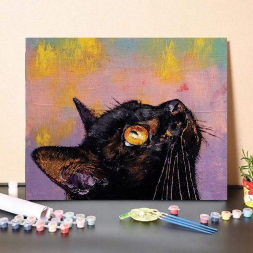 Fekete Cica számfestő készlet