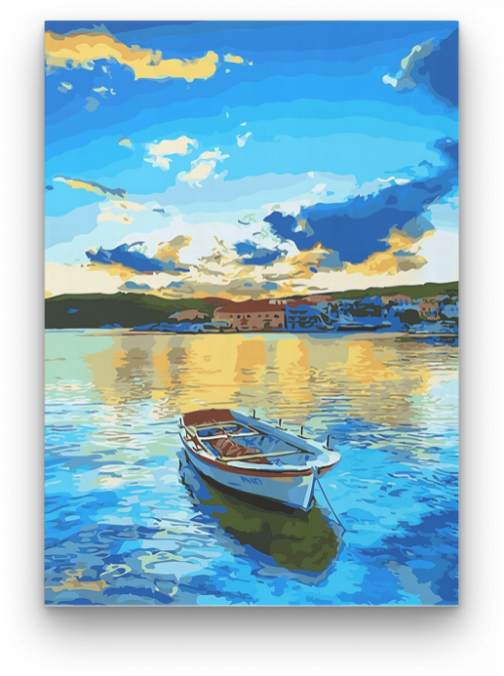 Magányos csónak számfestő készlet