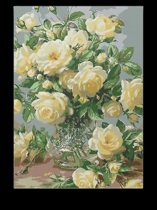 Fehér rózsacsokor számfestő készlet